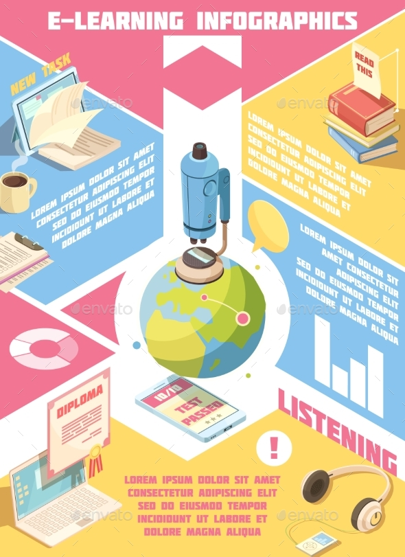 E-learning Isometric Infographics - Miscellaneous Vectors