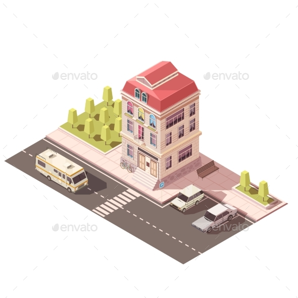 Residential House Isometric Mockup - Buildings Objects