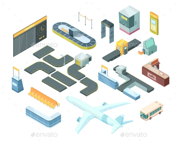 Airport Isometric Set - Travel Conceptual
