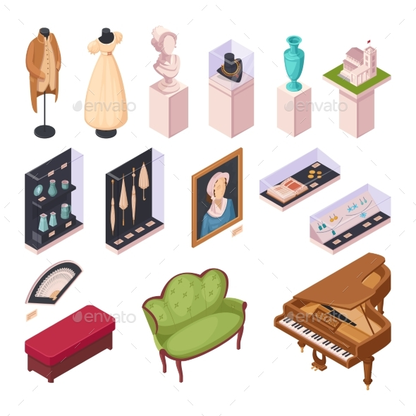 Museum Exhibition Isometric Icons Set - Man-made Objects Objects