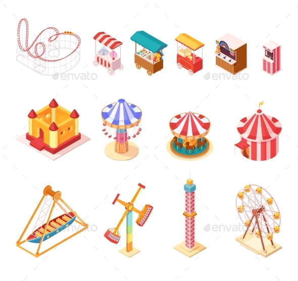 Amusement Park Isometric Cartoon Icons Set - Man-made Objects Objects