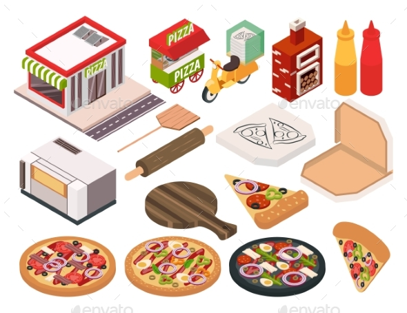 Isometric Pizzeria Icon Set - Food Objects