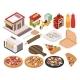 Isometric Pizzeria Icon Set