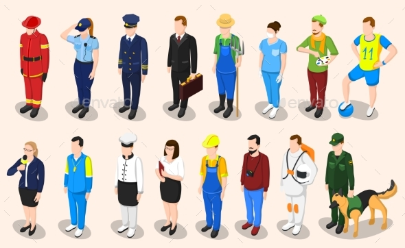 Professions Isometric People Set - People Characters