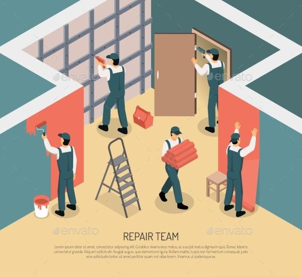 Isometric Renovation Illustration - Industries Business