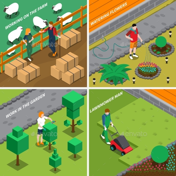Working On Farm 2X2 Design Concept - Miscellaneous Vectors