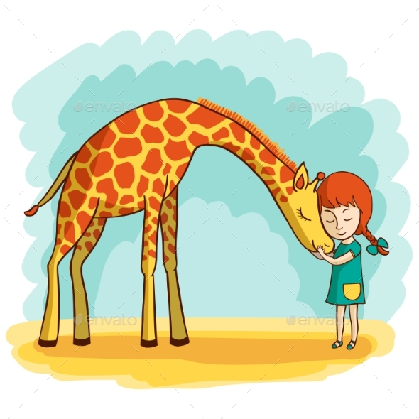 Girl and Giraffe - People Characters
