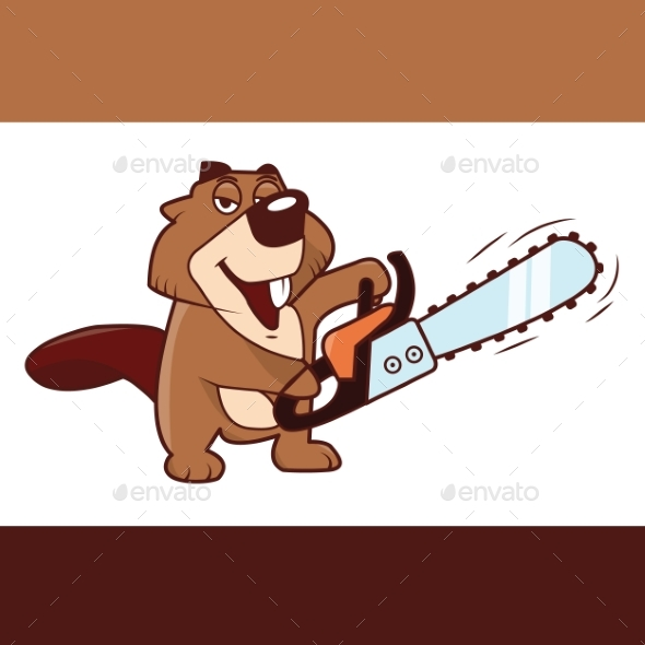 Beaver Holding a Chainsaw in His Hands - Animals Characters