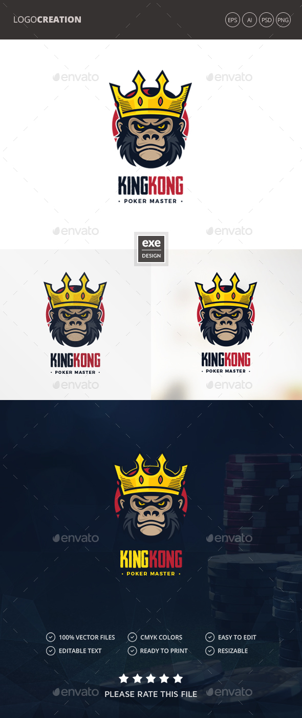 Gorilla King Logo - Animals Logo Templates