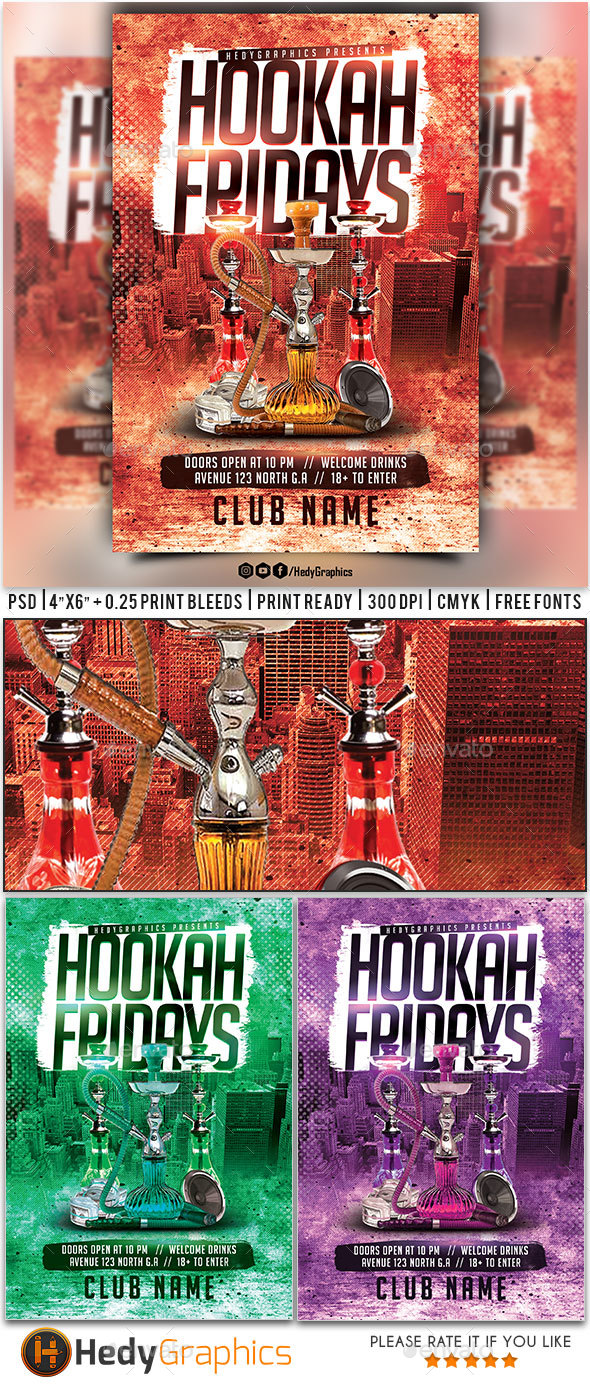 Hookah Fridays Flyer - Clubs & Parties Events