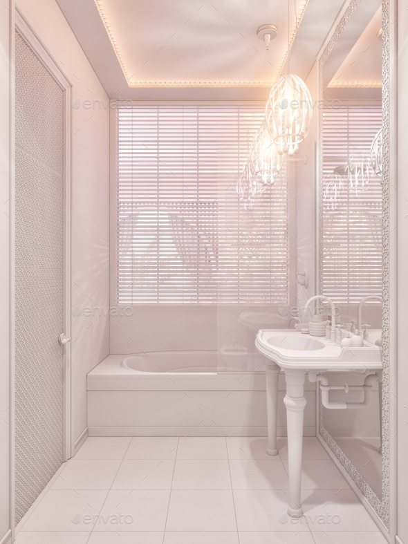 3d Render Bathroom Islamic Style Interior Design - Architecture 3D Renders