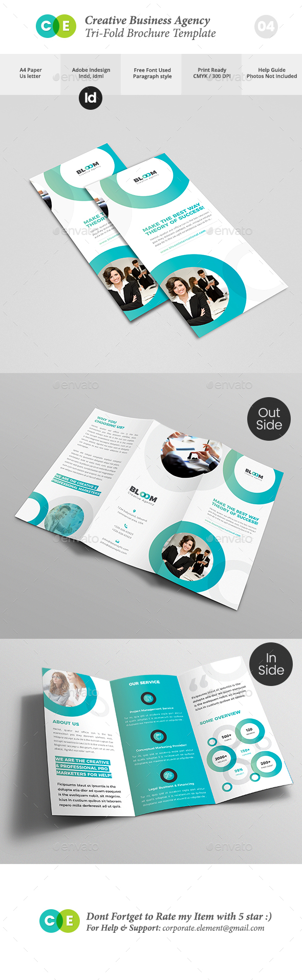 Creative Business Agency Tri-Fold Brochure V04 - Brochures Print Templates