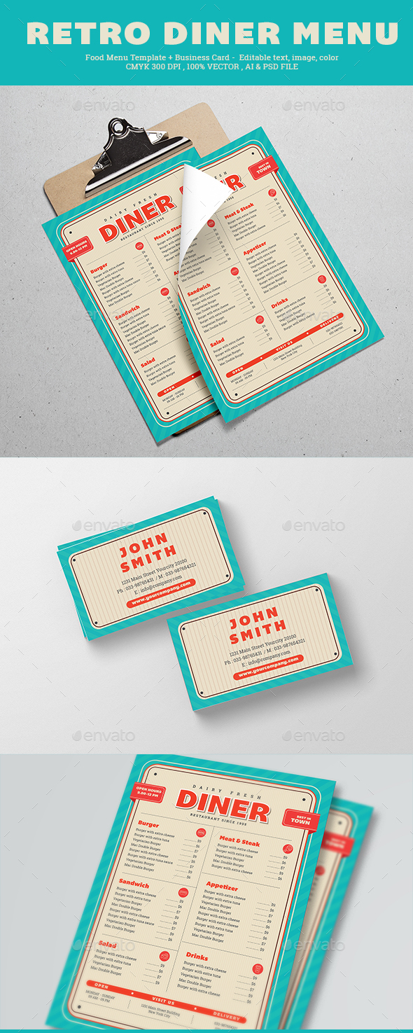 Retro Diner Menu - Food Menus Print Templates