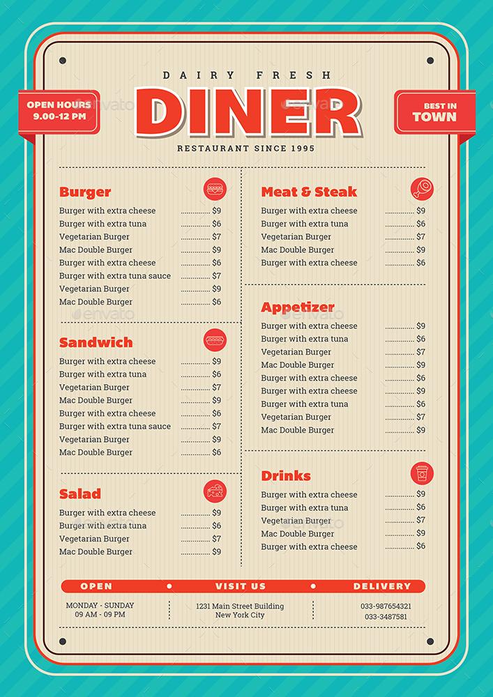 Retro Diner Menu By Guuver