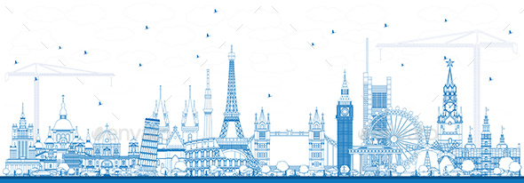 Outline Famous Landmarks in Europe. - Buildings Objects