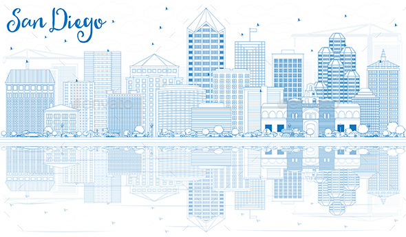 Outline San Diego Skyline with Blue Buildings and Reflections. - Buildings Objects