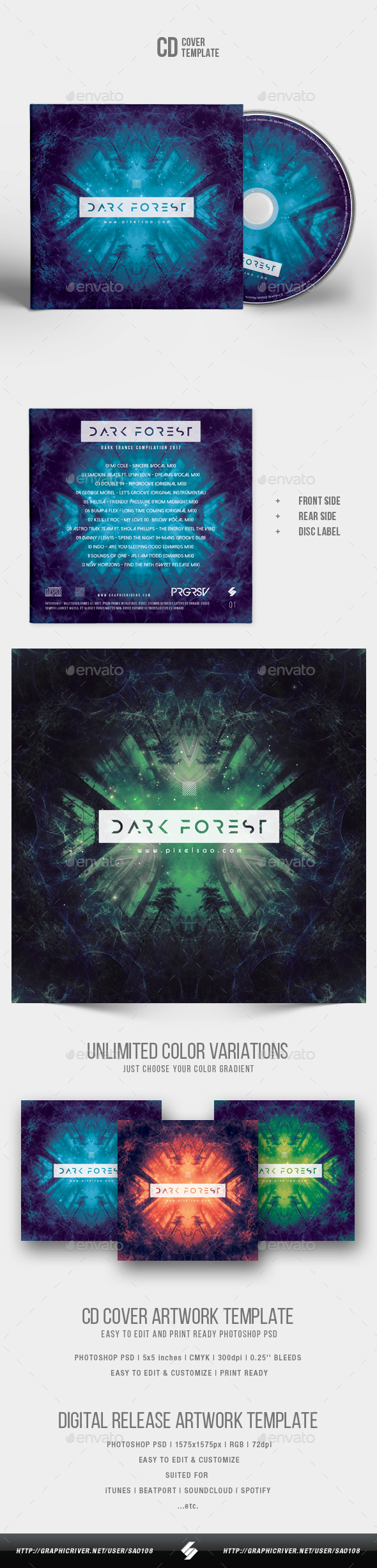 Dark Forest - CD Cover Artwork Template - CD & DVD Artwork Print Templates