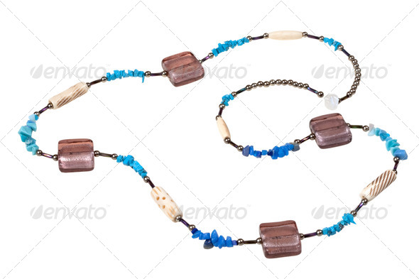 turquoise and glass beads - Stock Photo - Images