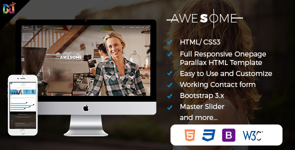 Awesome  - Responsive Onepage Parallax HTML Template