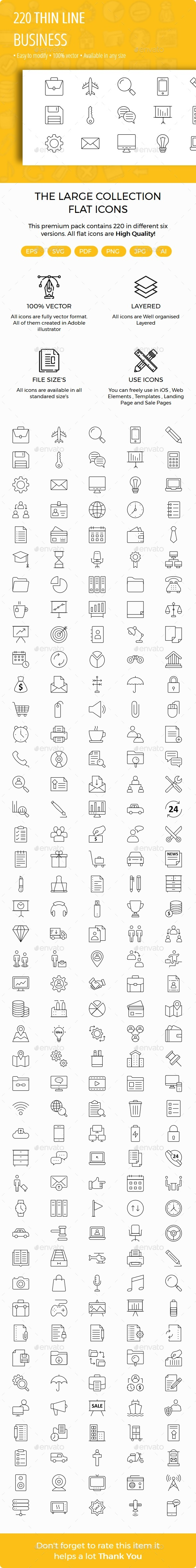 Business Thin line Icons - Business Icons