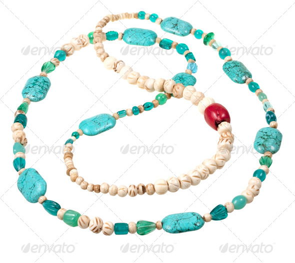 turquoise and bone beads - Stock Photo - Images