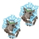 Cute Boar with Icy Snowflake on Head. Vector