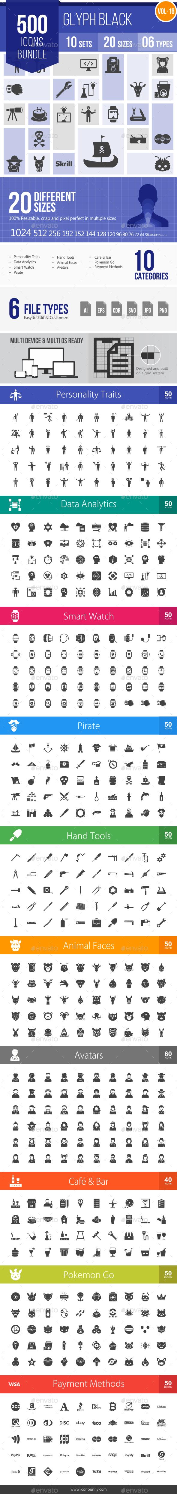 GraphicRiver 500 Vector Glyph Icons Bundle Vol-16 20286276