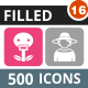 500 Vector Round Corner Colorful Flat Icons Bundle (Vol-16) Nulled