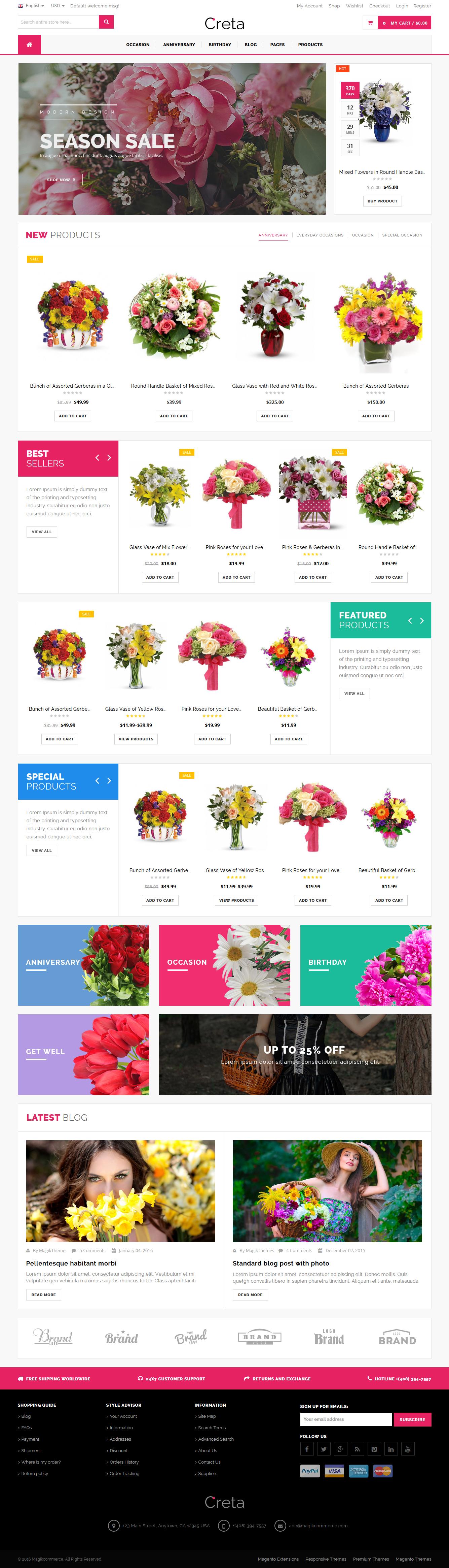 Creta Flower Shop Woocommerce Wordpress Theme By