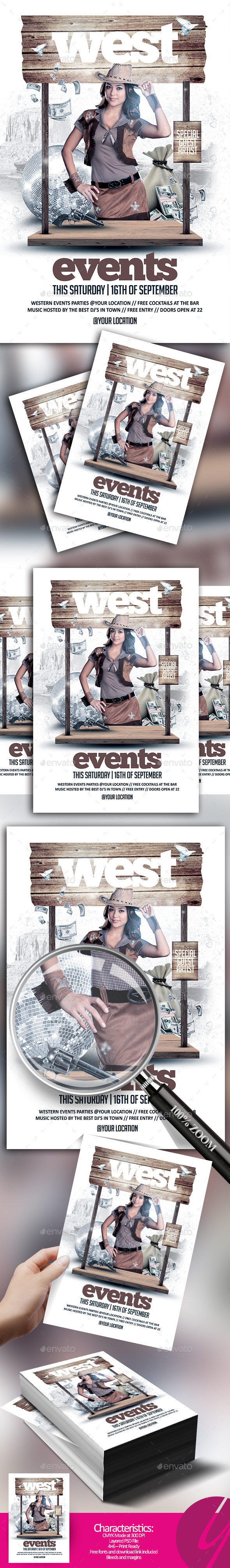 Western Events Flyer - Clubs & Parties Events