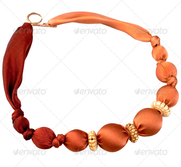 red batik silk beads - Stock Photo - Images