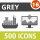 500 Vector Greyscale Flat Icons Bundle (Vol-16) Nulled