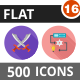 500 Vector Long Shadow Colorful Flat Icons Bundle (Vol-16) Nulled
