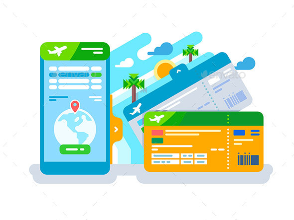Tickets for the Plane on a Smartphone - Travel Conceptual