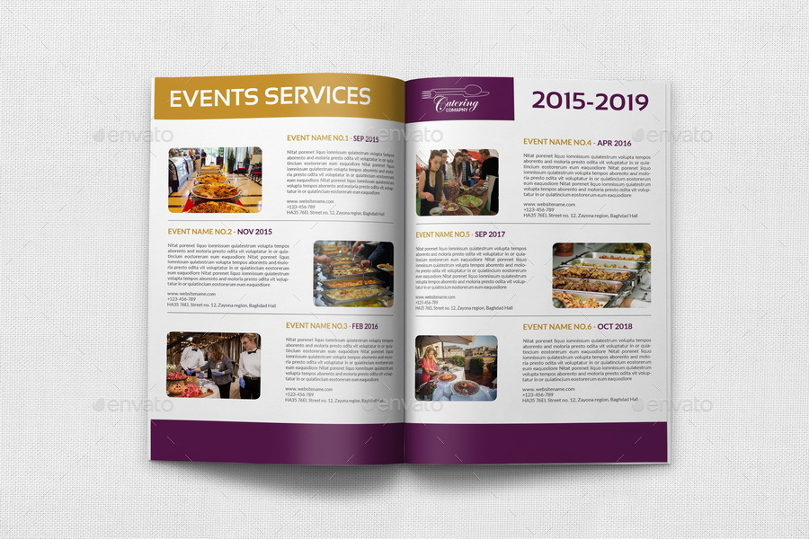 Catering Brochure Bundle Template By OWPictures GraphicRiver - Catering brochure templates