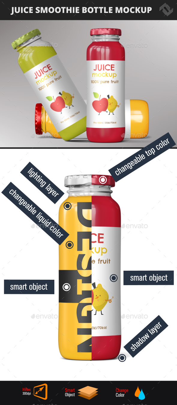Juice Smoothie Bottle Mockup - Food and Drink Packaging