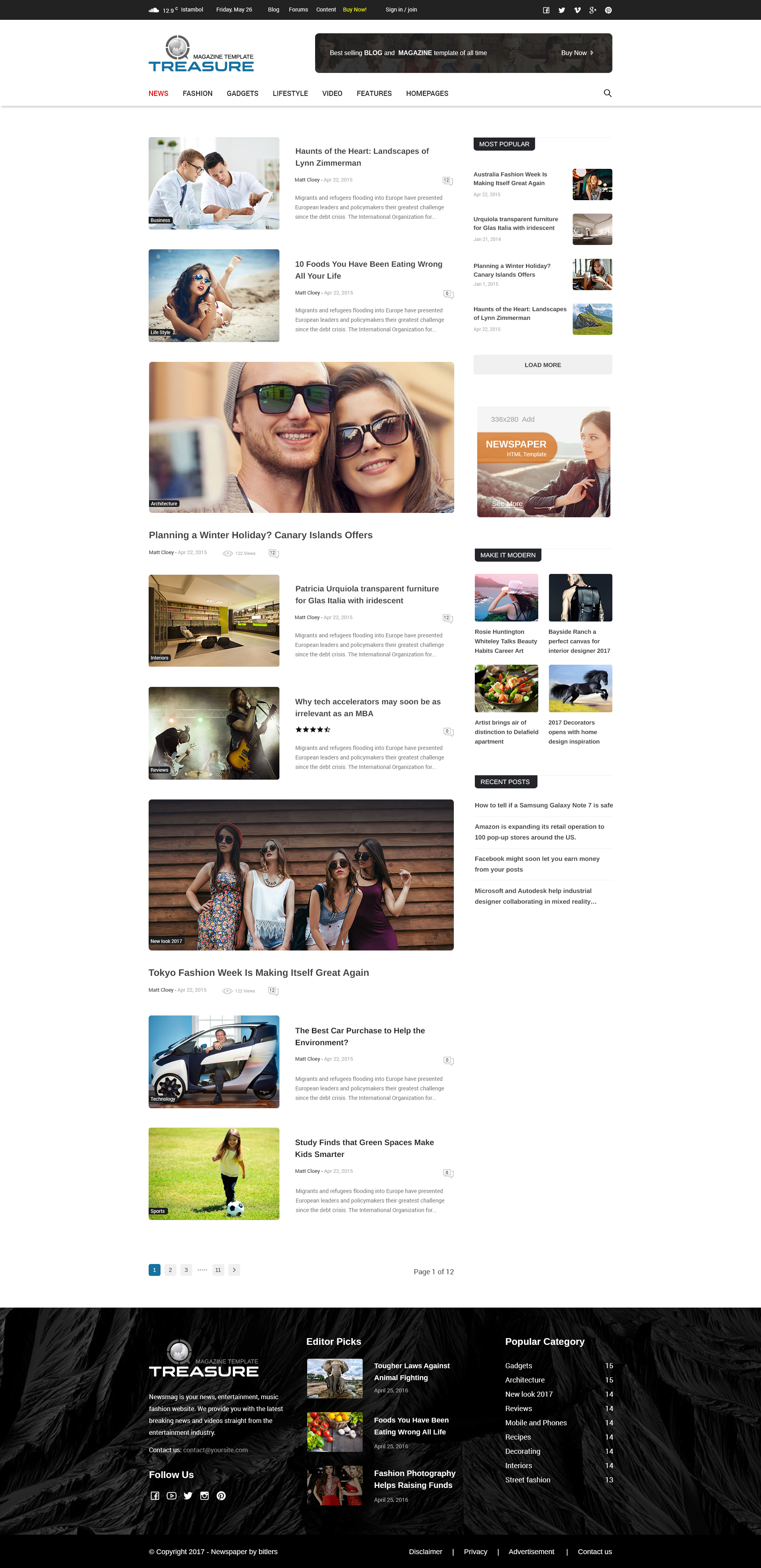 treasure blog and magazine psd template by creative themes
