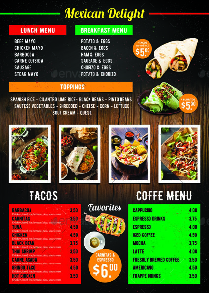 Mexican Taco Food Menu By Tholai | Graphicriver