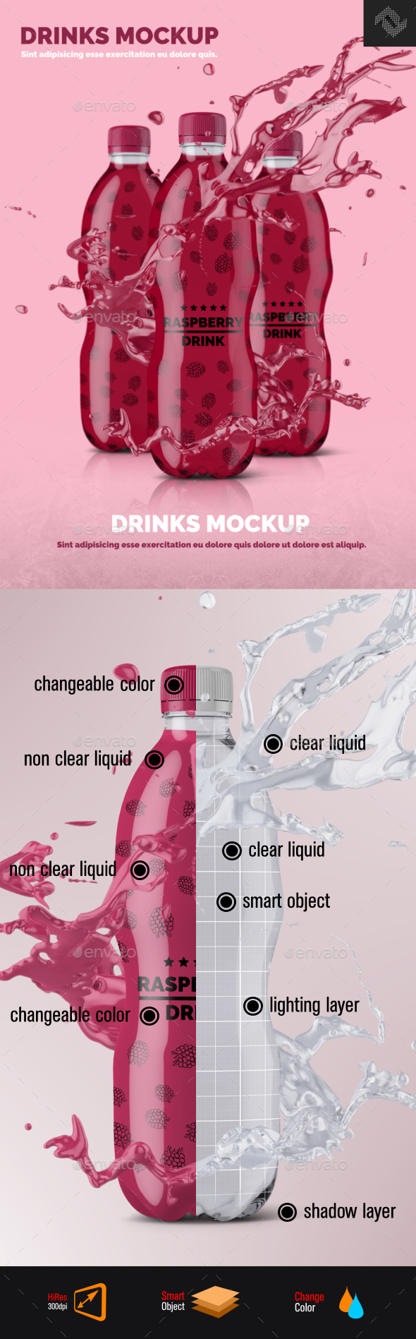Plastic Bottle Mockup Shape 4 - Food and Drink Packaging
