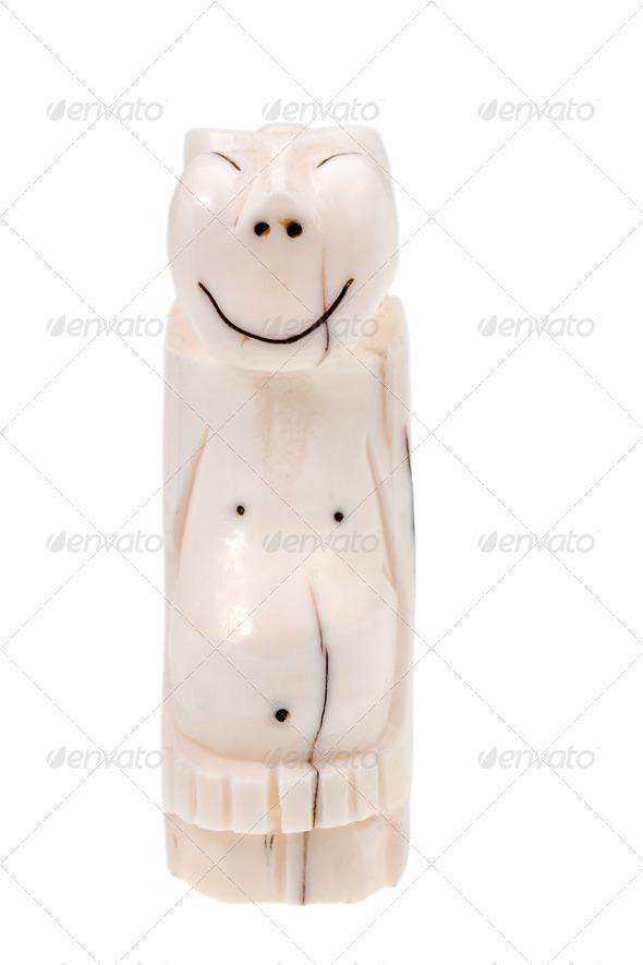 walrus bone Eskimo idol - Peliken - Stock Photo - Images