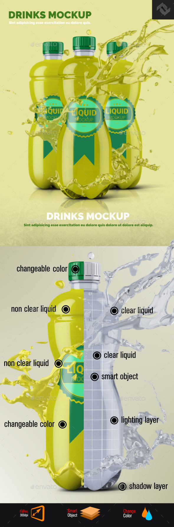 Clear Plastic Bottle Mockup Shape 3 - Food and Drink Packaging