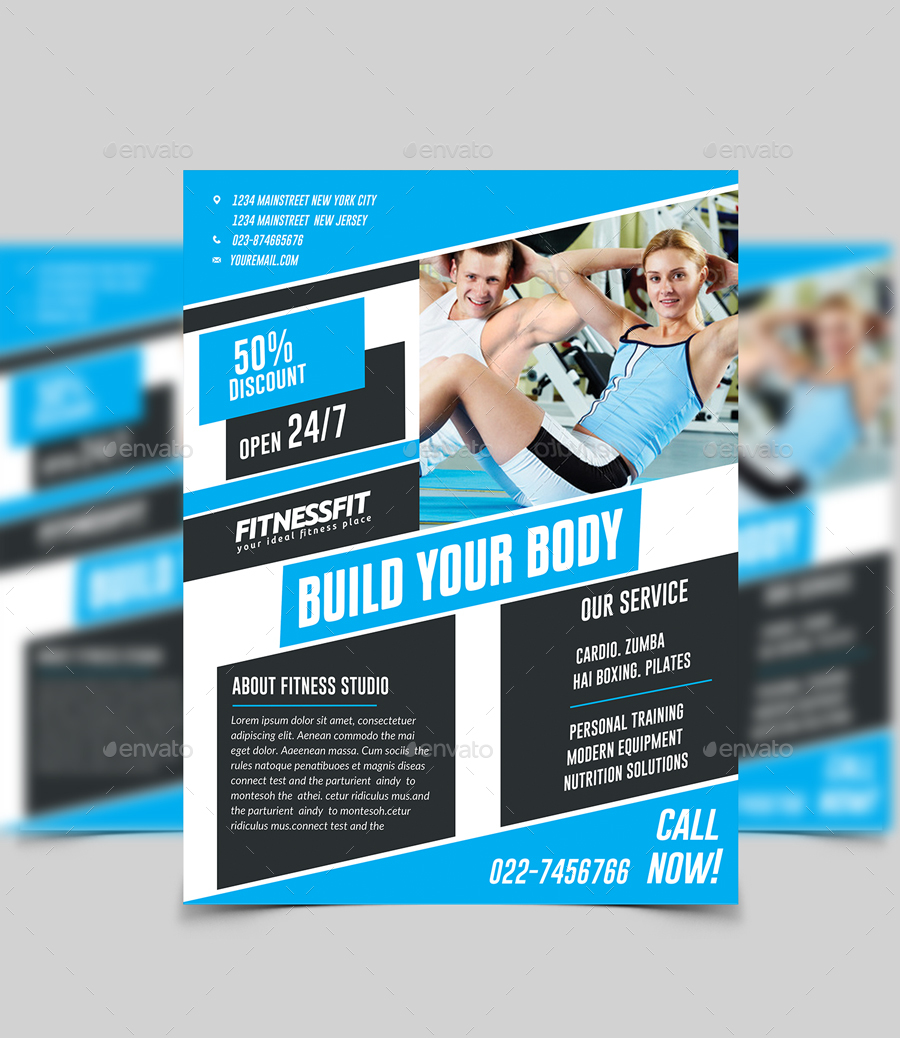 fitness flyer design by twin arts graphicriver