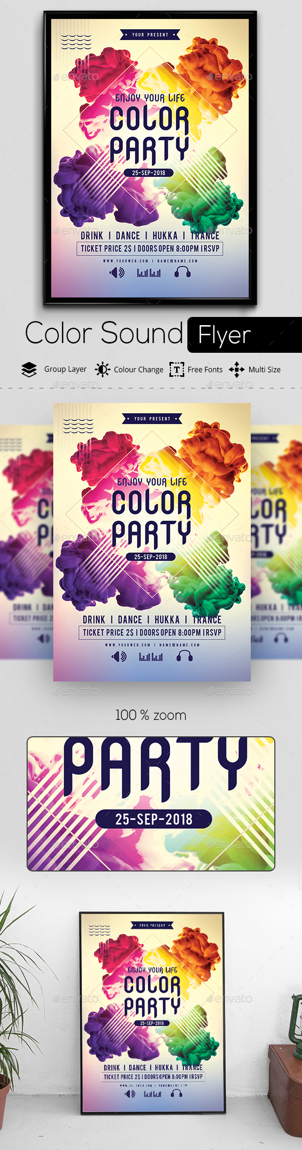 Color Sound Flyer - Clubs & Parties Events