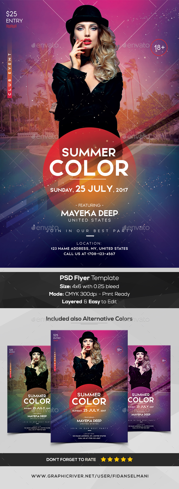 Summer Color - PSD Flyer Template - Events Flyers