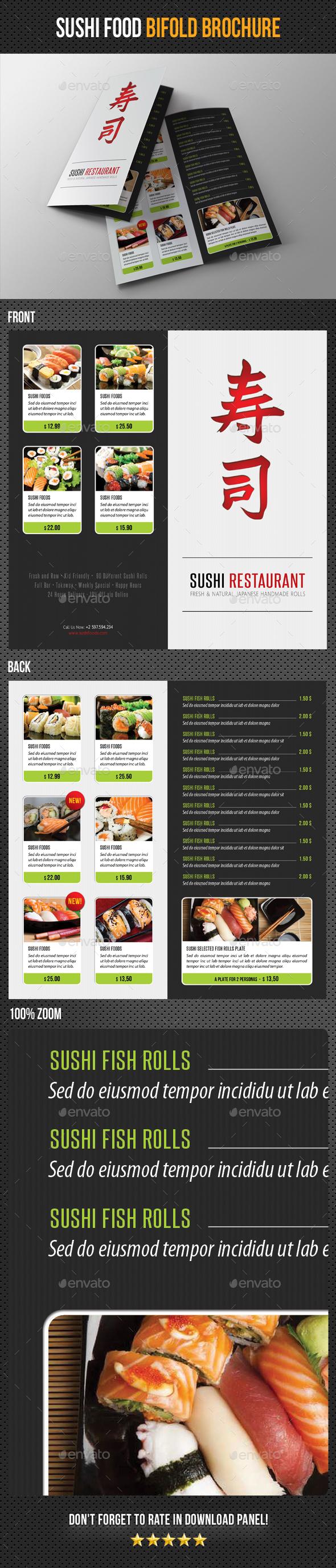 Sushi Restaurant Menu Bifold Brochure - Food Menus Print Templates