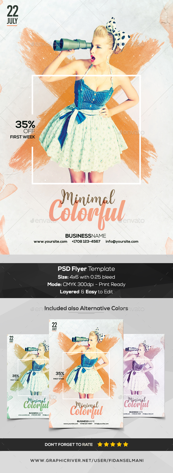 Colorful Minimal - PSD Flyer Template - Flyers Print Templates