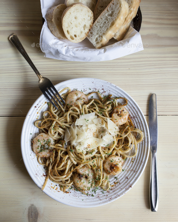 linguini with shrimp - Stock Photo - Images