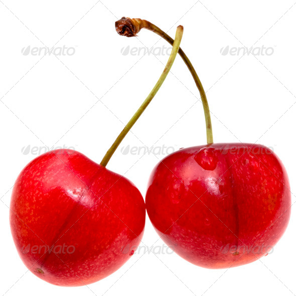 red sweet cherry closeup isolated on white - Stock Photo - Images