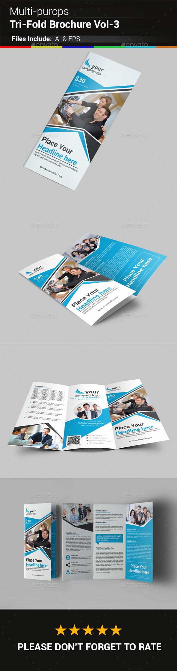 Multipurpose Business Tri-Fold Brochure Vol-3 - Corporate Brochures