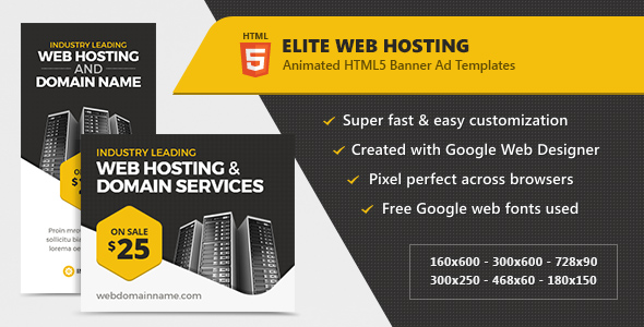 Elite Web Hosting Banner Ads - HTML5 Animated - CodeCanyon Item for Sale